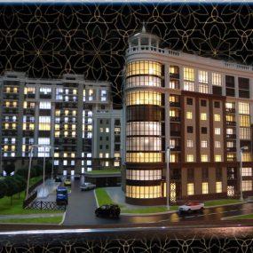 макет жилого комплекса, макет дома, макет с подсветкой